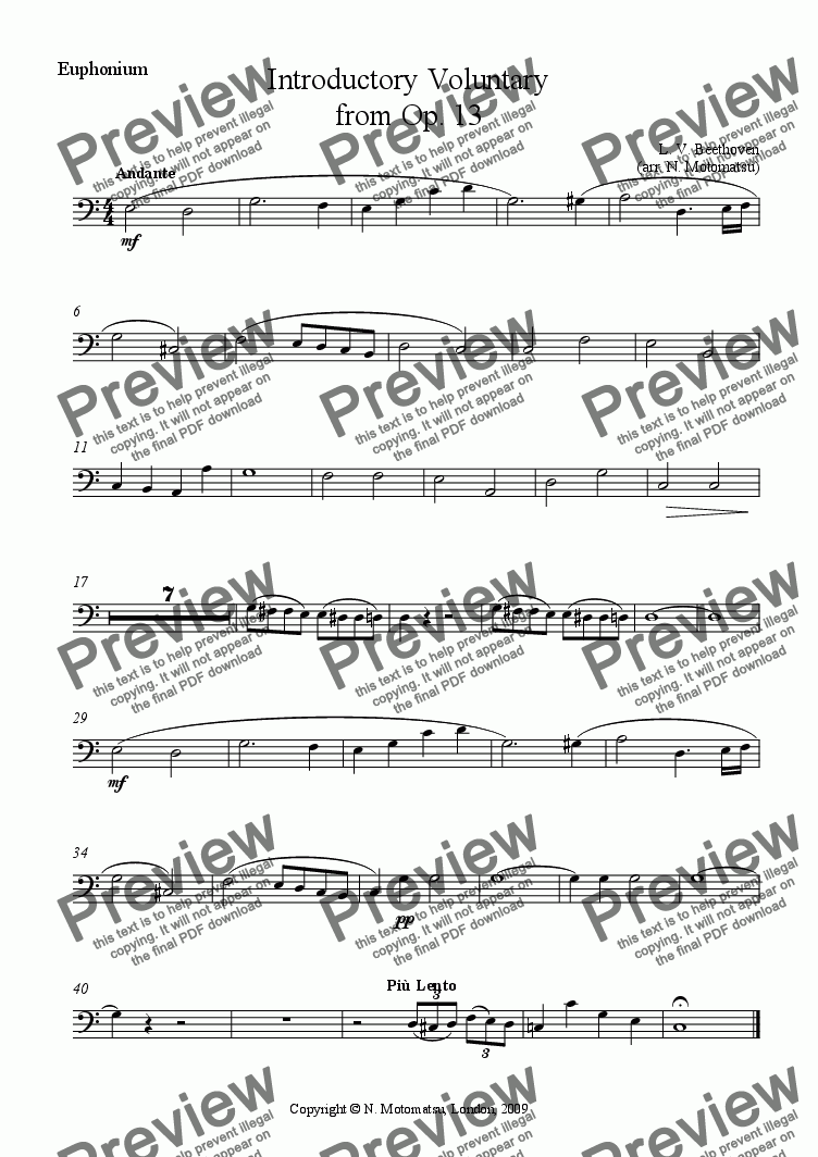 page one of the Euphonium part from Introductory Voluntary from Op. 13 for school orchestra