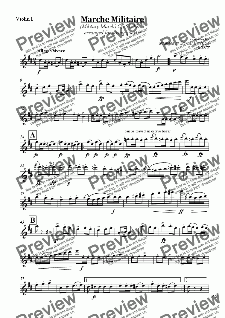 page one of the Violin I part from Marche Militaire (Military March), Op. 51, No. 1 (for string quartet/orchestra)