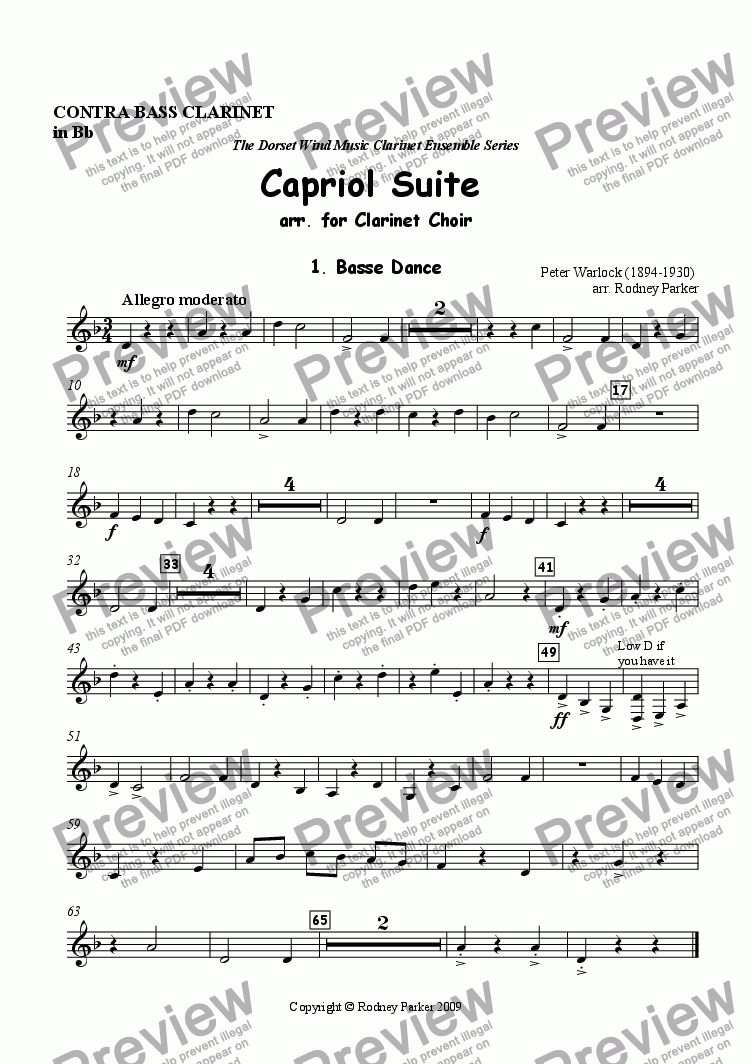 page one of the Contrabass Clarinet part from Capriol Suite arr. for Clarinet Choir