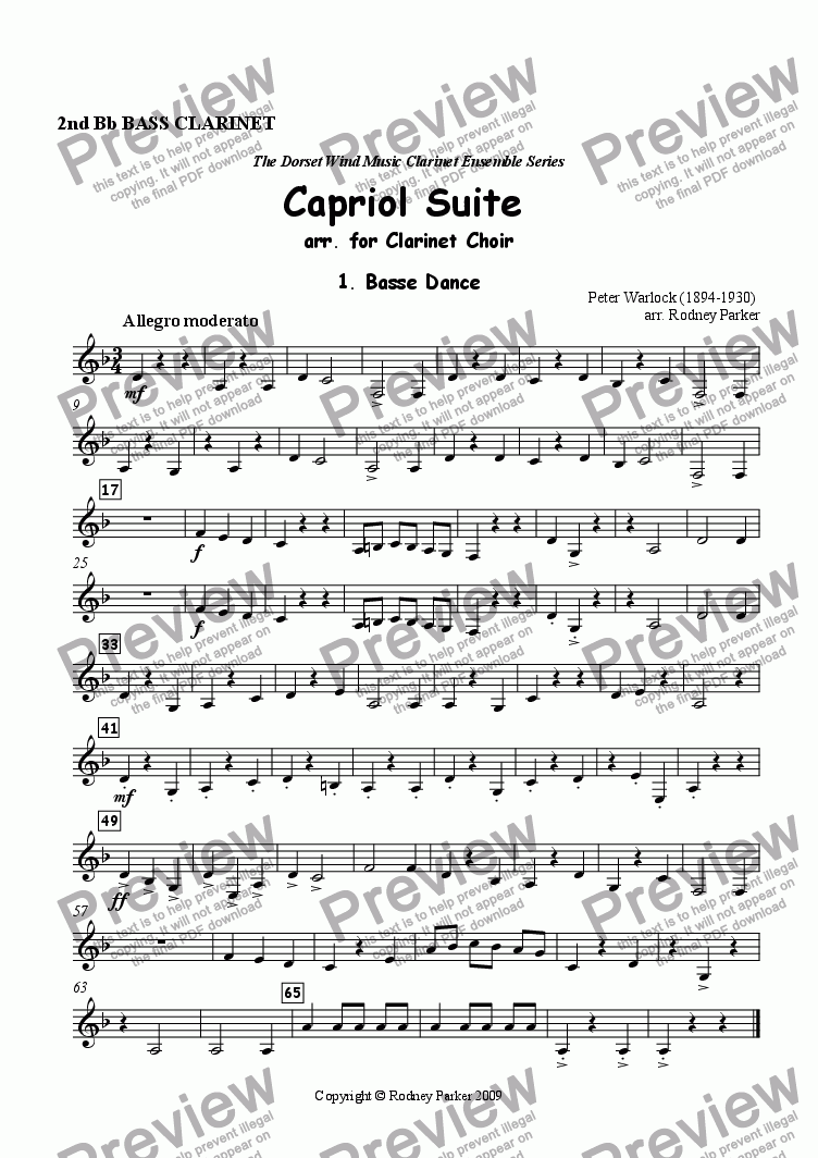 page one of the 2nd Bb Bass Clarinet part from Capriol Suite arr. for Clarinet Choir
