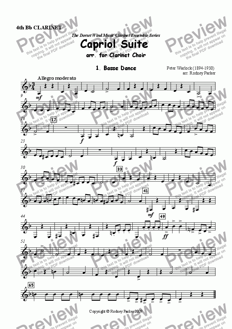 page one of the 4th Bb Clarinet part from Capriol Suite arr. for Clarinet Choir