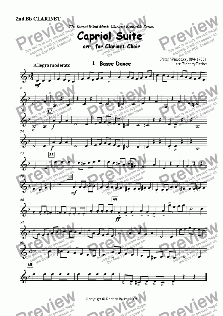 page one of the 2nd Bb Clarinet part from Capriol Suite arr. for Clarinet Choir