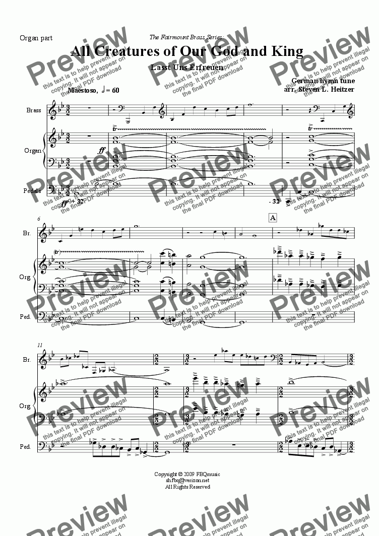 page one of the Organ part from All Creatures of Our God and King - Brass QUINTET & Organ
