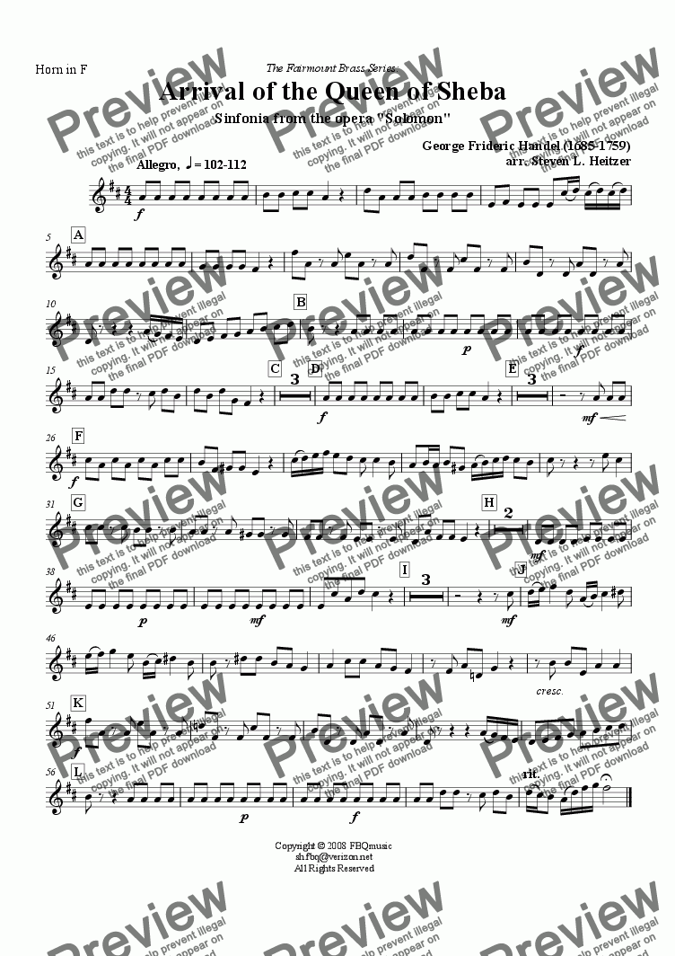 page one of the Horn in F part from Arrival of the Queen of Sheba (from Solomon) - Brass QUARTET & Organ