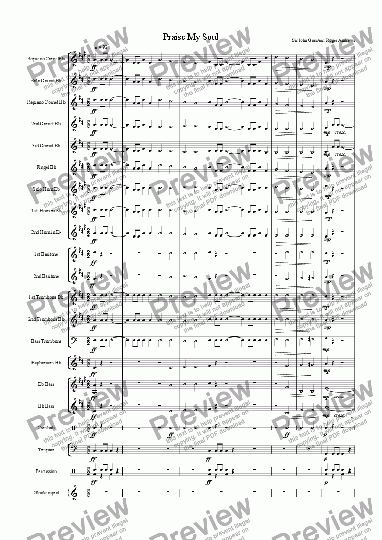 page one of the 2nd Cornet, part from Praise My Soul