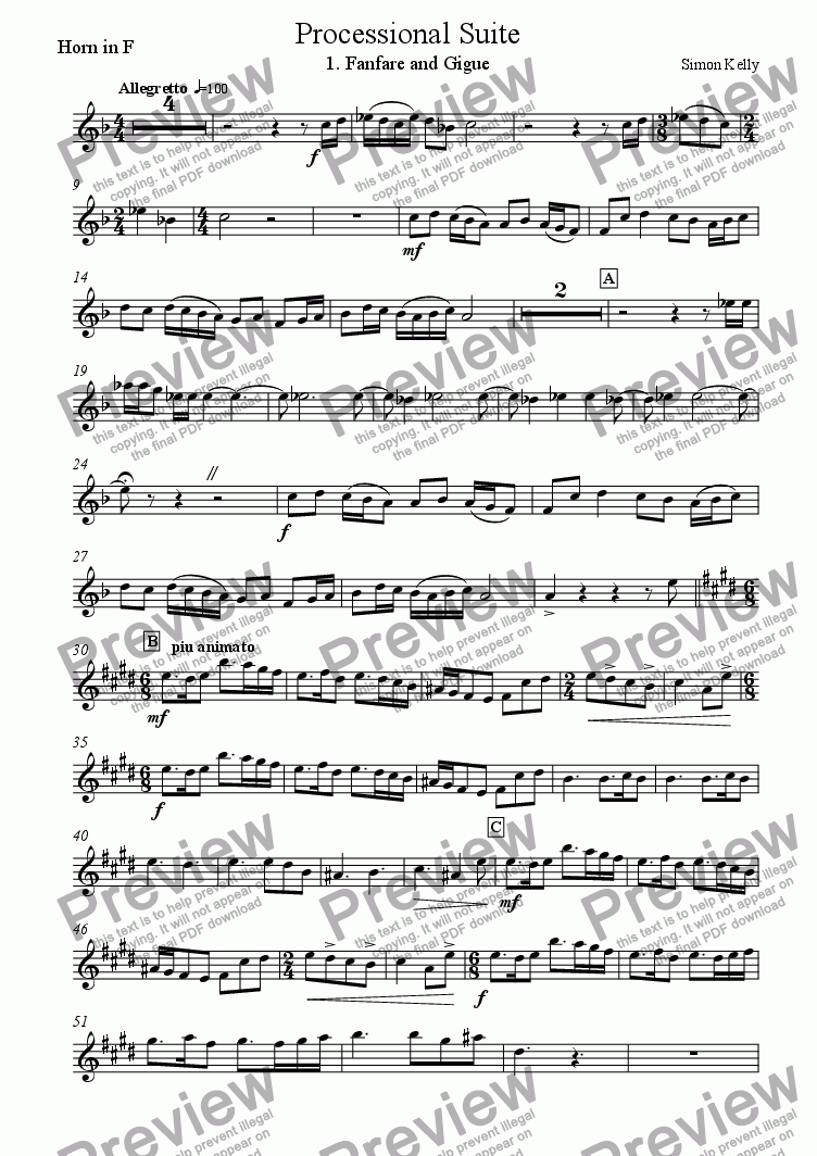 page one of the Horn in F part from Processional Suite
