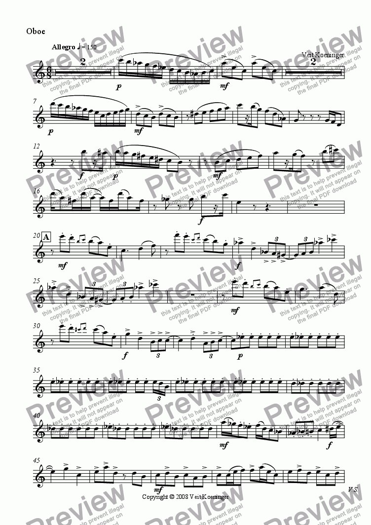page one of the oboe part from Wind Quintet Movement 4