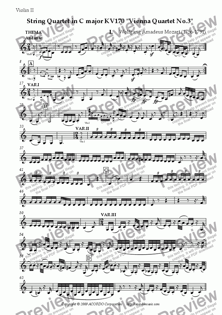 "page one of the Violin II part from String Quartet in C major KV170 ""Vienna Quartet No.3"""