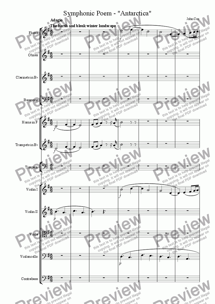 page one of the flute part from Symphonic Poem - Antarctica