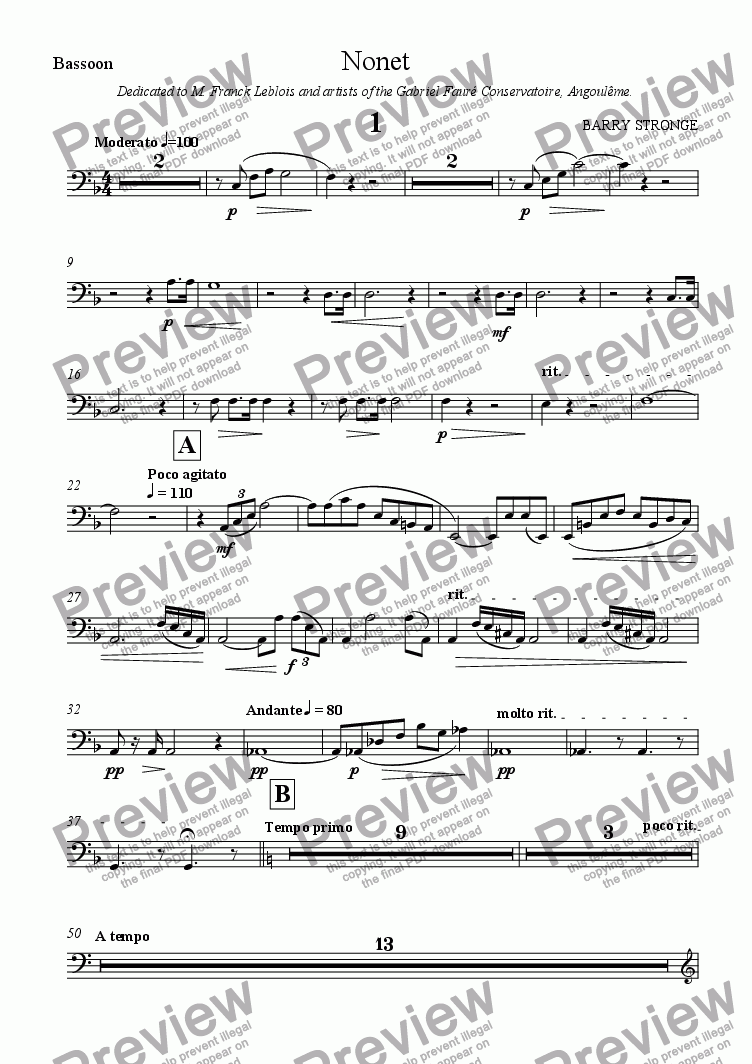 page one of the Bassoon part from Nonet - First Movement