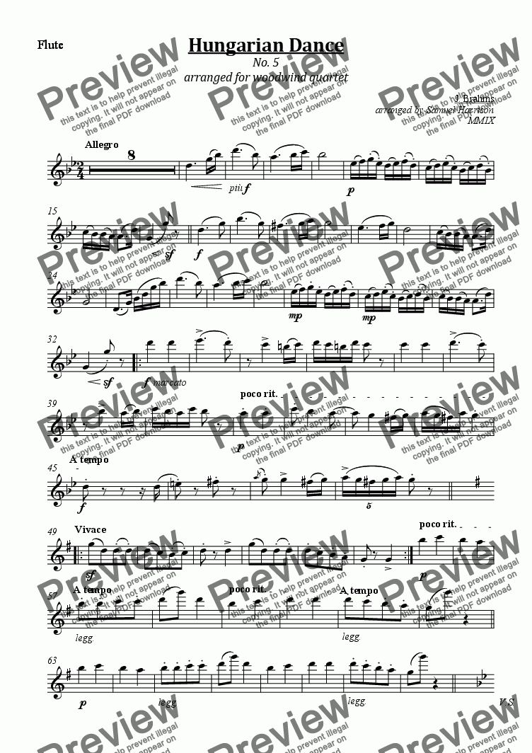 page one of the Flute part from Hungarian Dance No. 5 (for woodwind quartet)