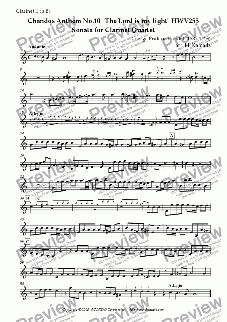 "page one of the Clarinet II in Bb part from Chandos Anthem No.10 ""The Lord is my light"" HWV255 Sonata for Clarinet Quartet"