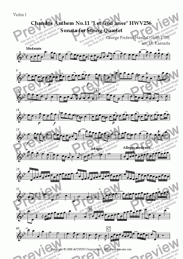 "page one of the Violin I part from Chandos Anthem No.11 ""Let God arise"" HWV256 Sonata for String Quartet"