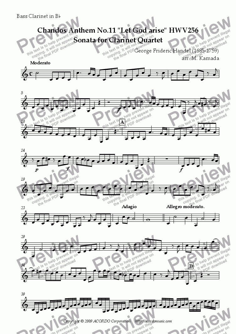 "page one of the Bass Clarinet in Bb part from Chandos Anthem No.11 ""Let God arise"" HWV256 Sonata for Clarinet Quartet"