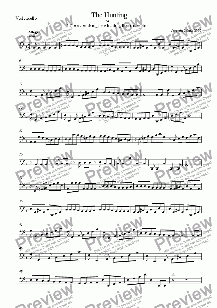 page one of the Vlc part from String Orchestra 03 (The Hunting)