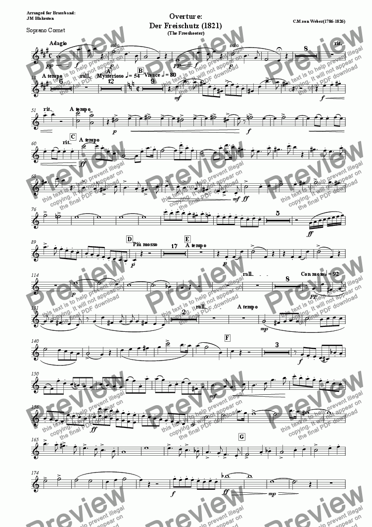 page one of the sop cornet part from Overture: Der Freischutz (Brass Band)