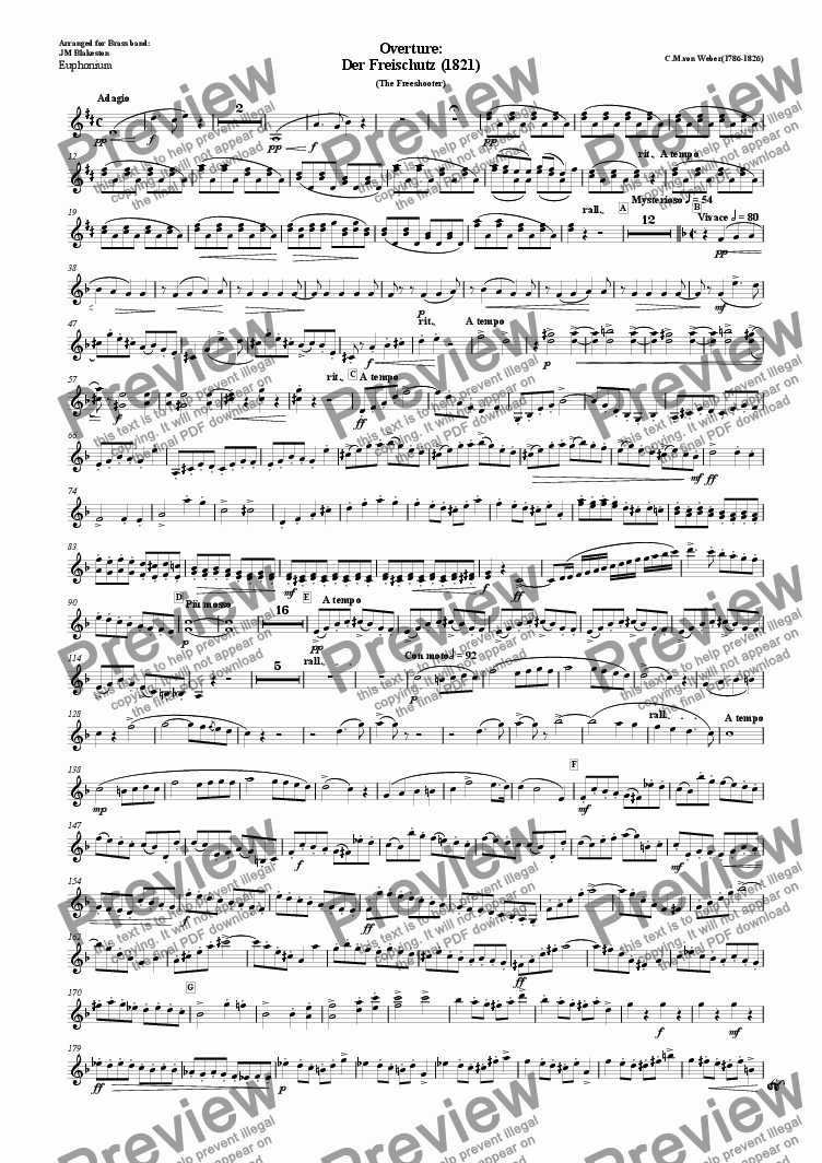 page one of the euphonium part from Overture: Der Freischutz (Brass Band)