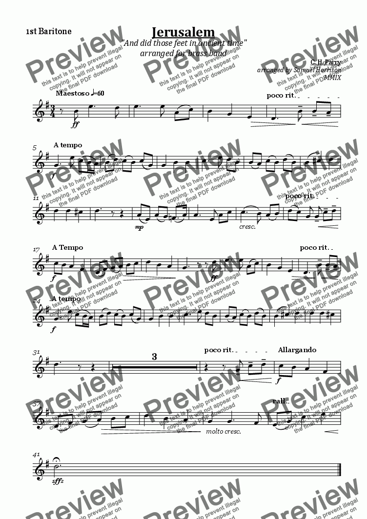 page one of the 1st Baritone part from Jerusalem (for brass band)