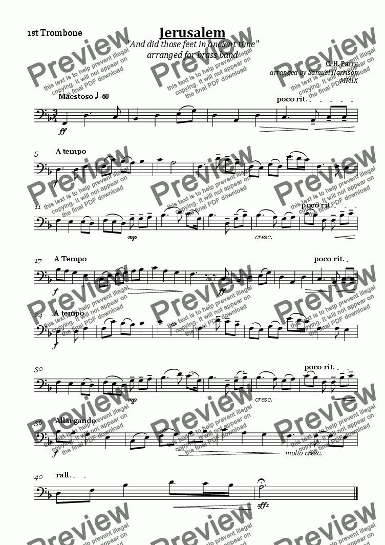page one of the 1st Trombone part from Jerusalem (for brass band)