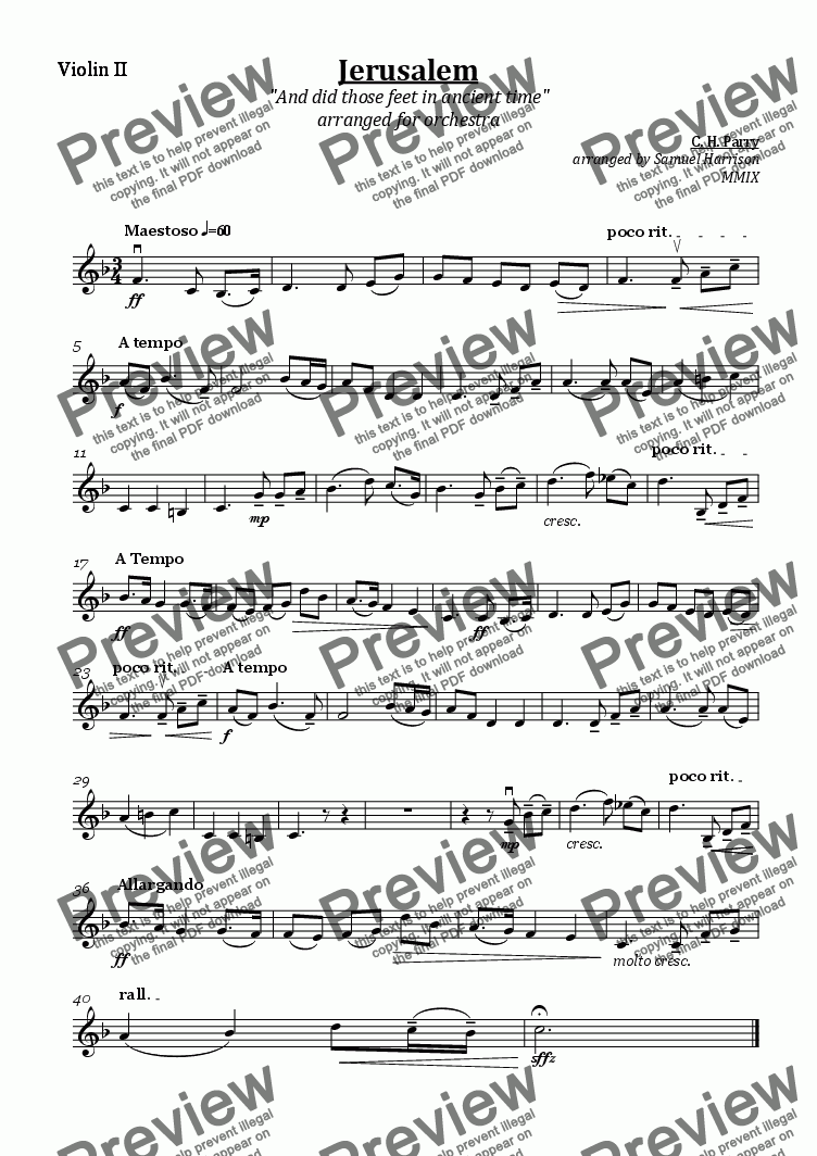 page one of the Violin II part from Jerusalem (for [school] orchestra)
