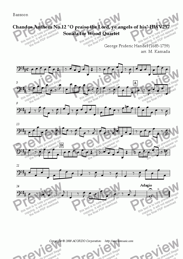 "page one of the Bassoon part from Chandos Anthem No.12 ""O praise the Lord, ye angels of his"" HWV257 Sonata for Wood Quartet"