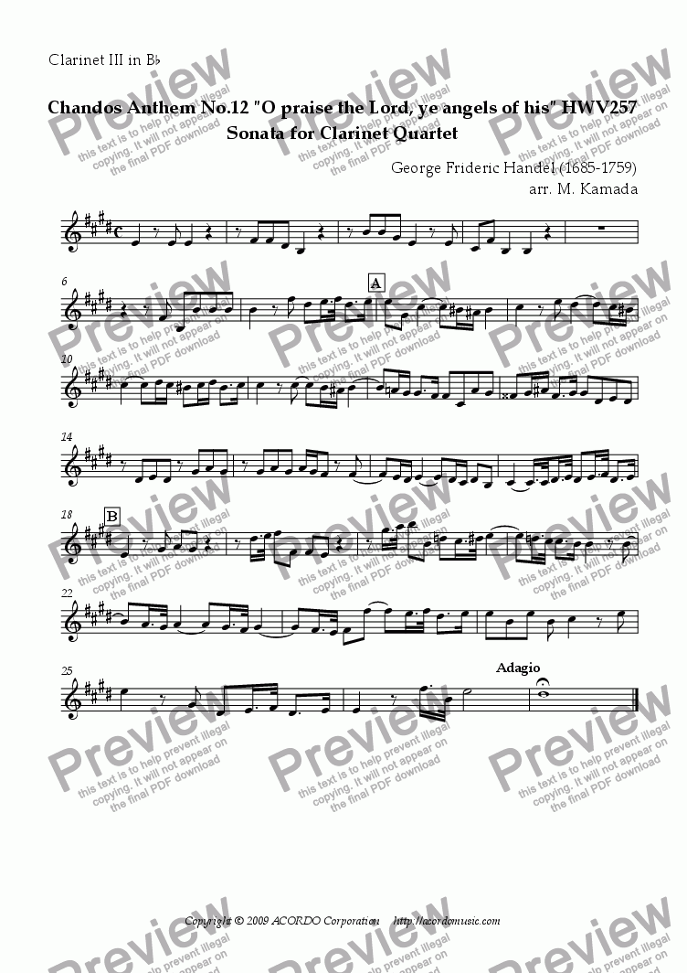 "page one of the Clarinet III in Bb part from Chandos Anthem No.12 ""O praise the Lord, ye angels of his"" HWV257 Sonata for Clarinet Quartet"