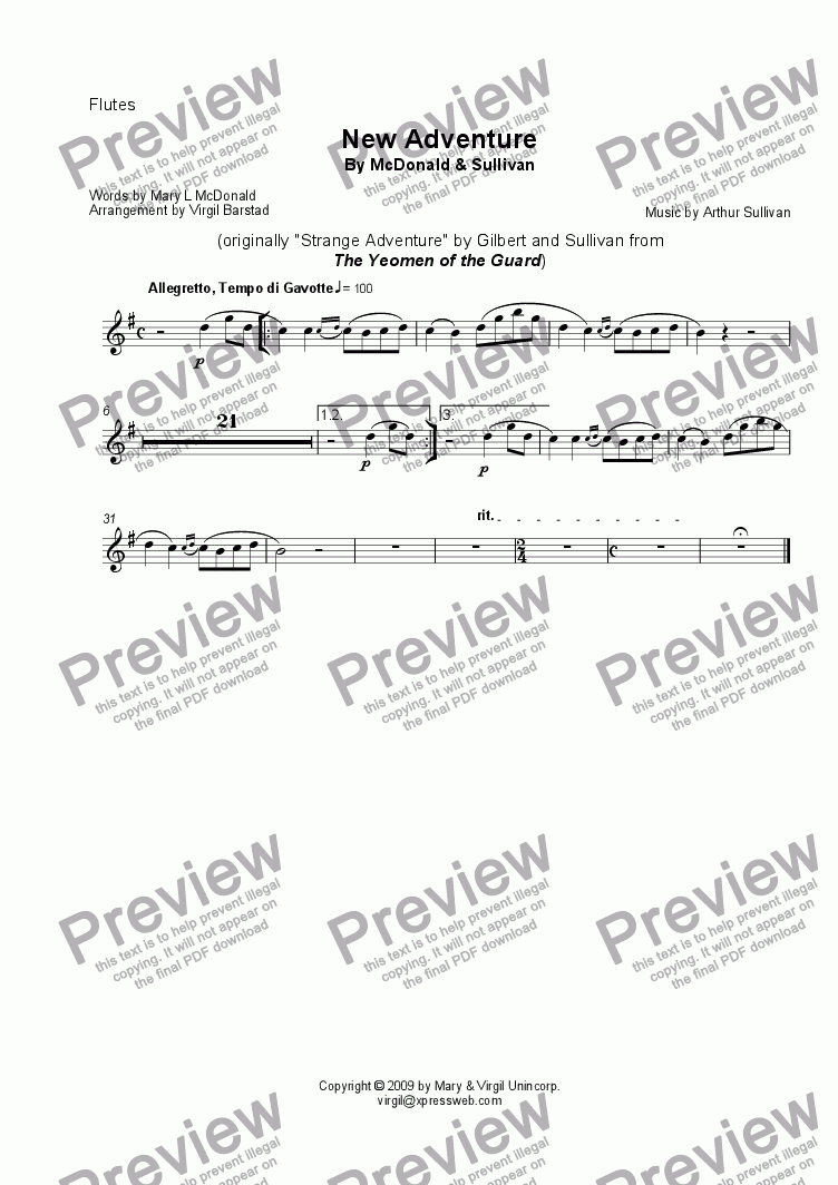page one of the Flutes part from New Adventure