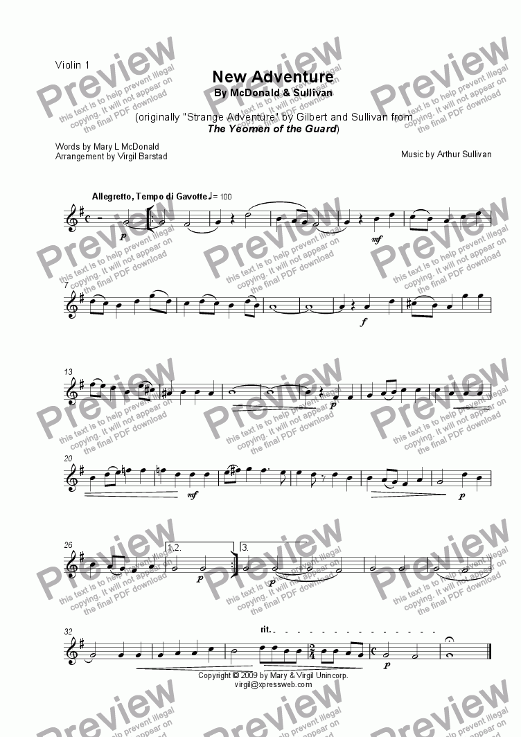 page one of the Violin 1 part from New Adventure