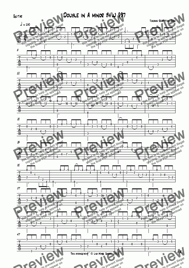 page one of the Guitar TAB part from Double from Bach Lute Suite BVW 997 Solo Guitar with TAB