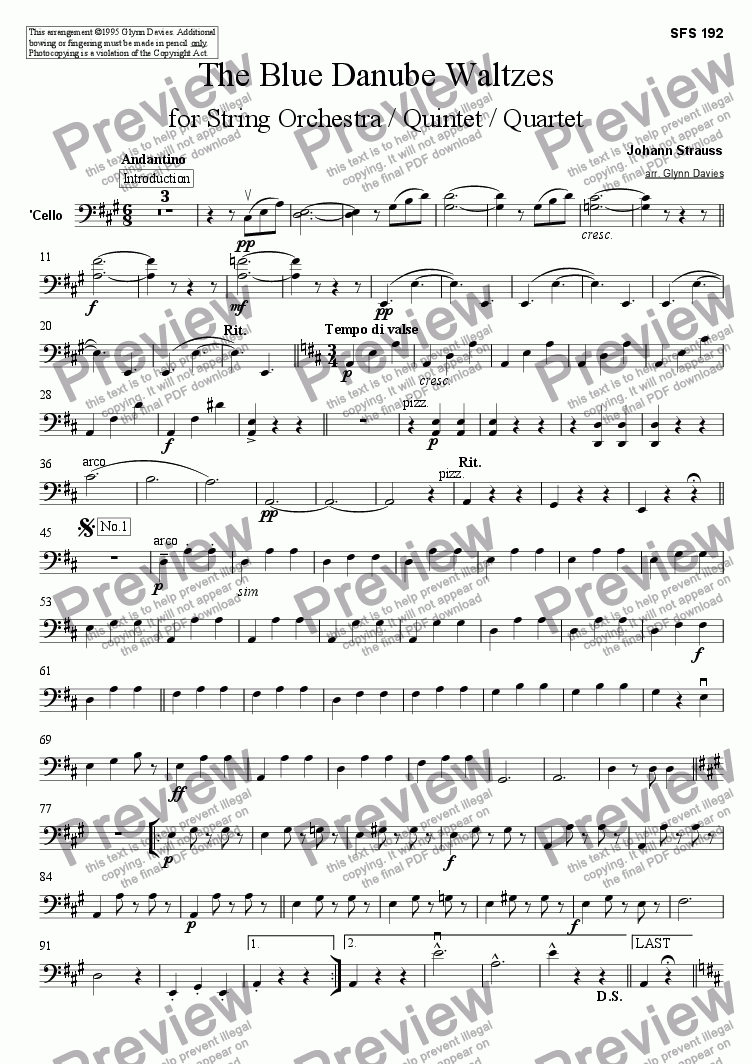 page one of the Cello part from The Blue Danube Waltzes