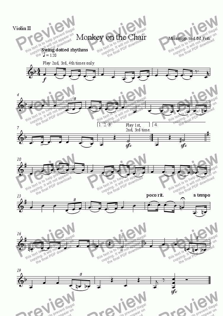 page one of the Violin II part from Here Sits a Monkey