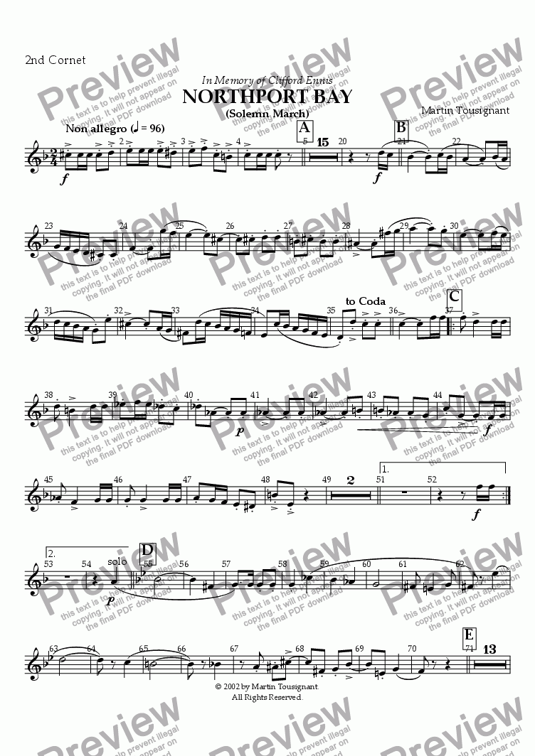 page one of the 2nd Cornet part from Northport Bay March (Brass Band)