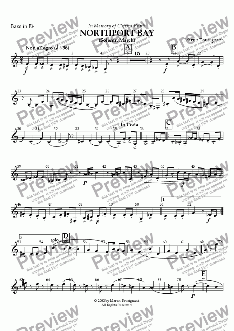 page one of the Eb Bass part from Northport Bay March (Brass Band)