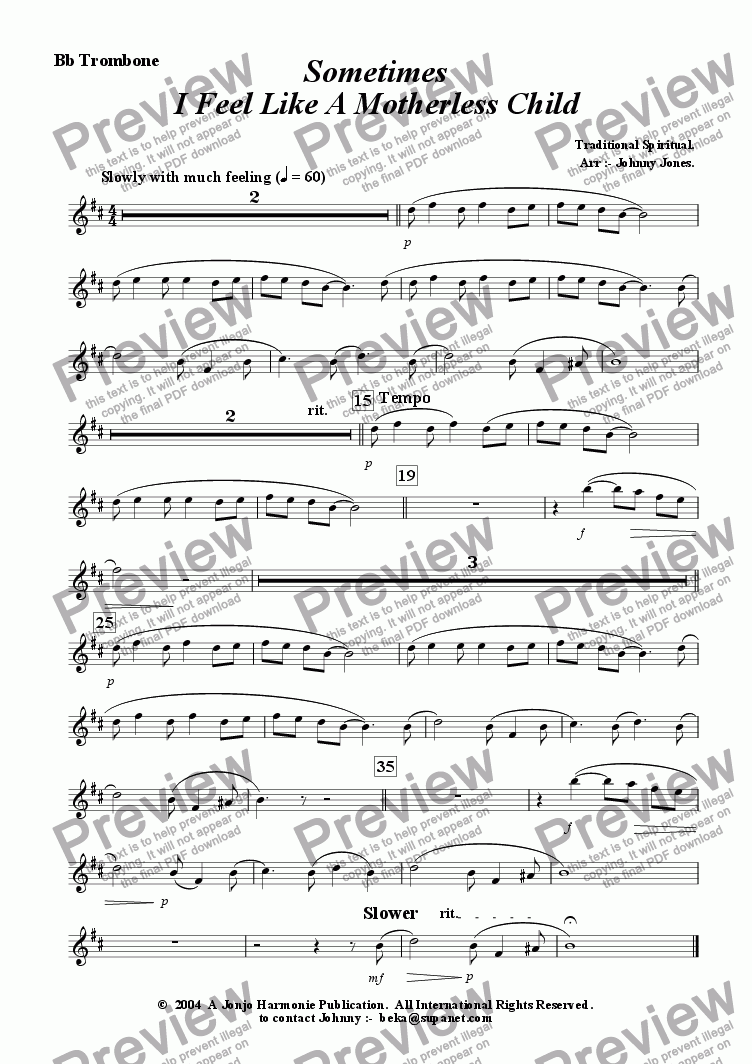 page one of the Bb Trombone part from Sometimes I Feel Like A Motherless Child   (Trombone and Strings)