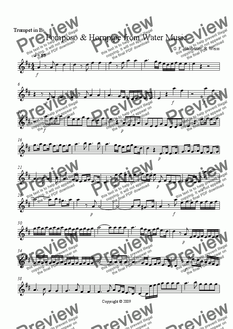 page one of the Bb Trumpet part from Pomposo & Hornpipe from Water Music for Brass Trio