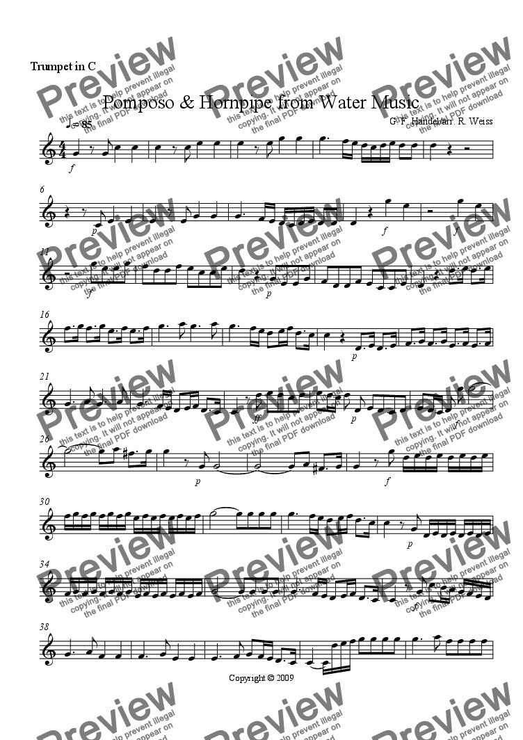 page one of the C Trumpet part from Pomposo & Hornpipe from Water Music for Brass Trio