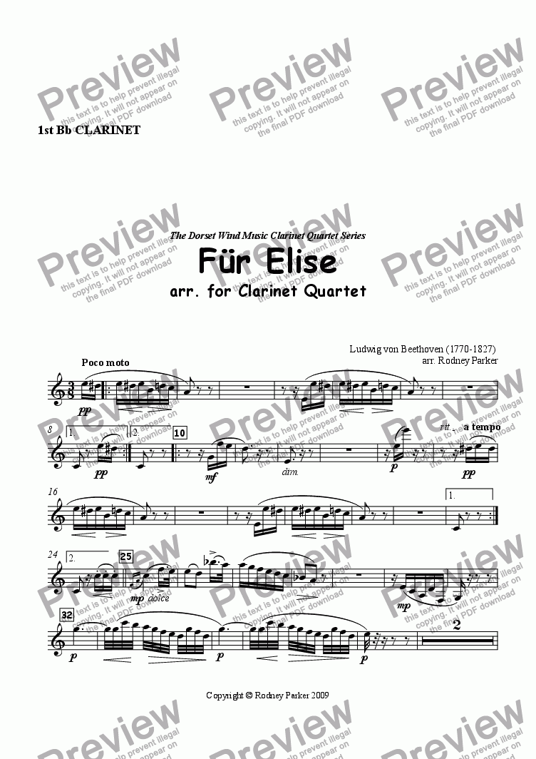 page one of the 1st Clarinet part from F�r Elise arr. for Clarinet Quartet