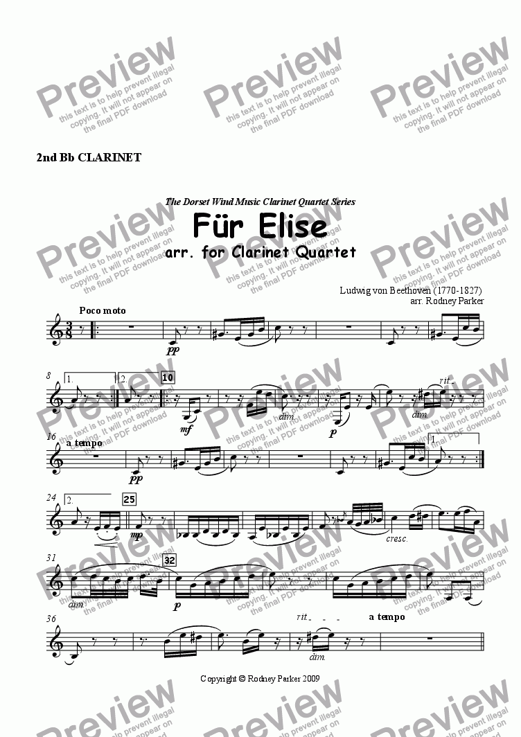 page one of the 2nd Clarinet part from F�r Elise arr. for Clarinet Quartet