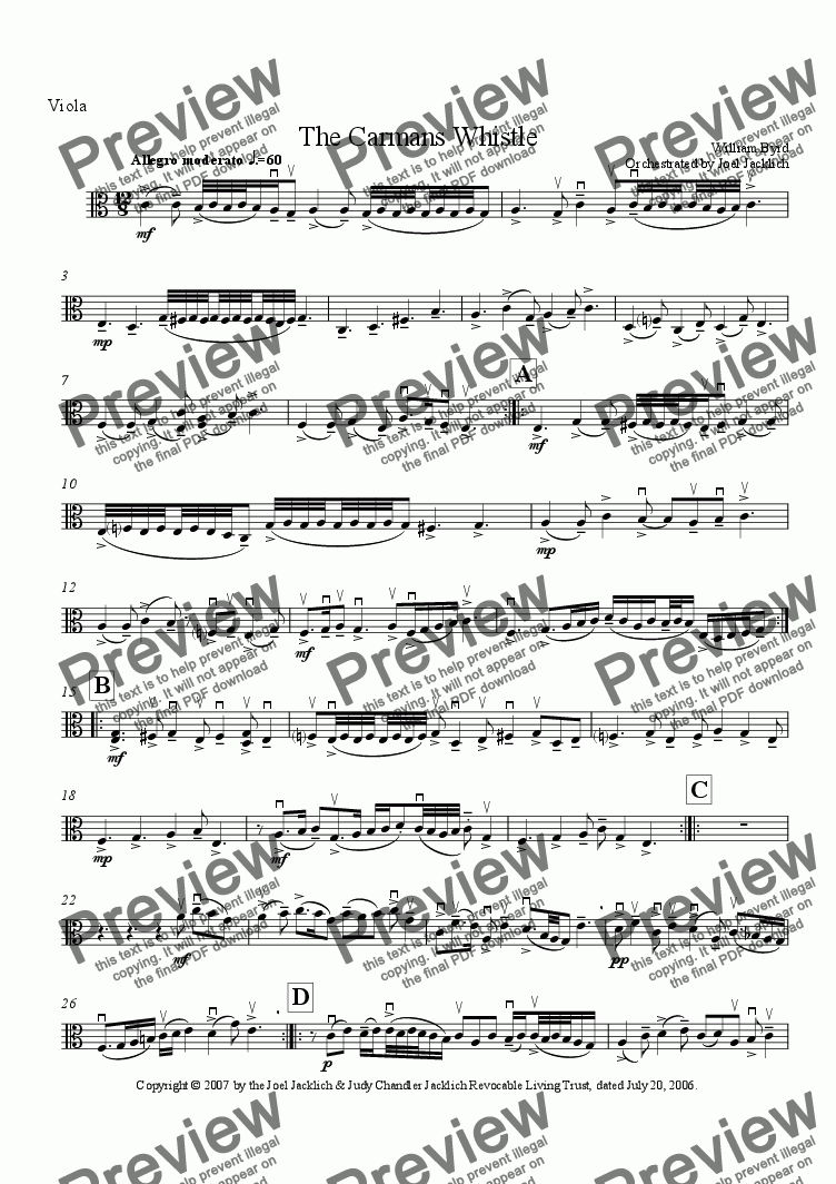 page one of the Viola part from The Carman's Whistle