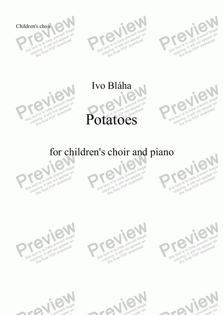 page one of the Choir part from POTATOES (Brambory) for children's choir and piano (English words)