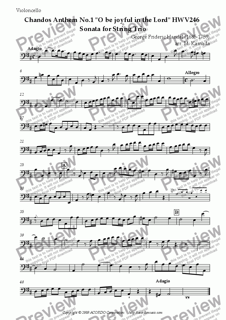 "page one of the Violoncello part from Chandos Anthem No.1 ""O be joyful in the Lord"" HWV246 Sonata for String Trio"