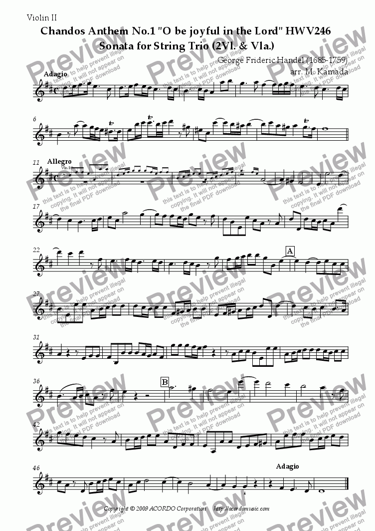 "page one of the Violin II part from Chandos Anthem No.1 ""O be joyful in the Lord"" HWV246 Sonata for two Violins & Viola"