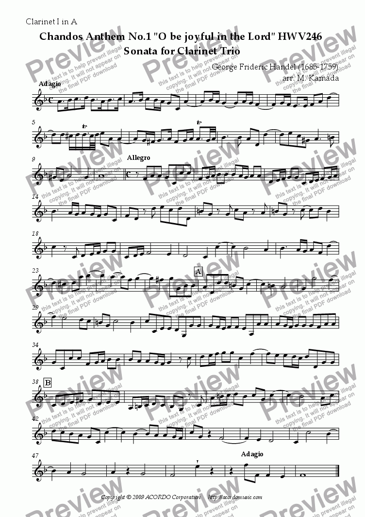 "page one of the Clarinet I in A part from Chandos Anthem No.1 ""O be joyful in the Lord"" HWV246 Sonata for Clarinet Trio"