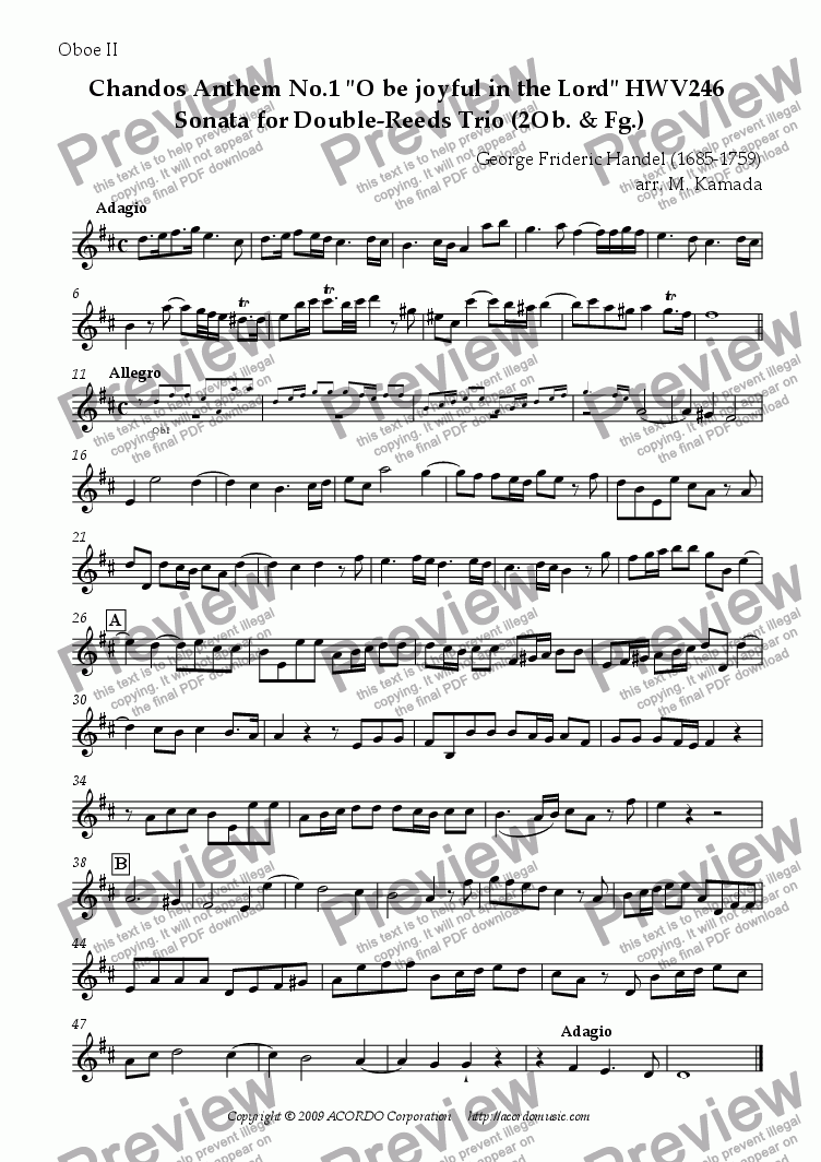 "page one of the Oboe II part from Chandos Anthem No.1 ""O be joyful in the Lord"" HWV246 Sonata for Double-Reeds Trio"