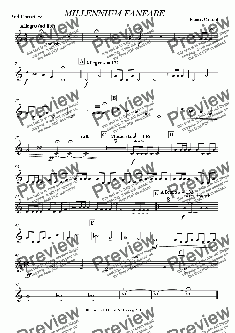 page one of the 2nd Cornet in Bb part from Millennium Fanfare (Brass Band)