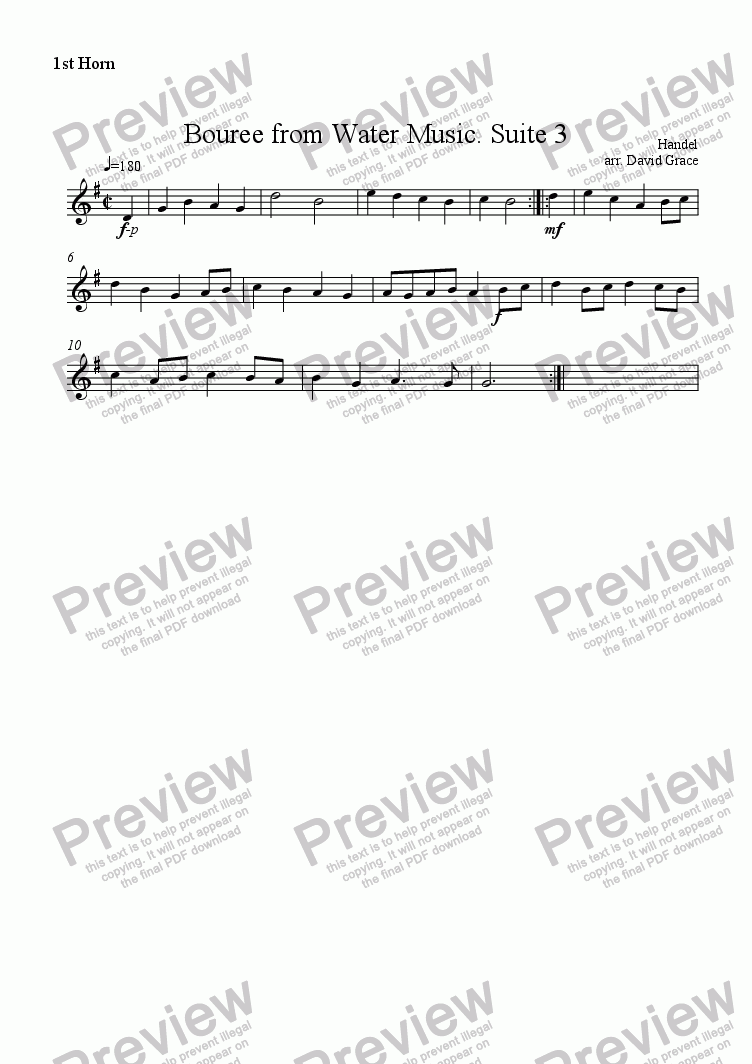 page one of the 1st Horn part from Bouree from Water Music. [Suite3]