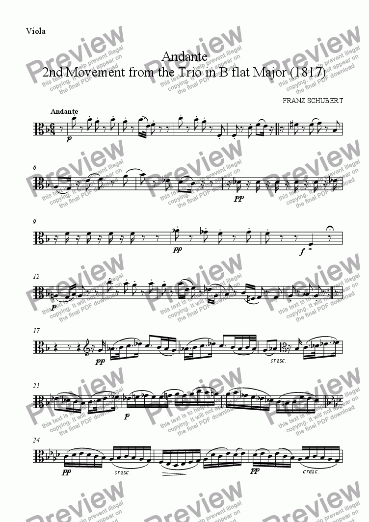 page one of the Viola part from 'Andante' for string trio (2nd Movement of the 2nd Trio)