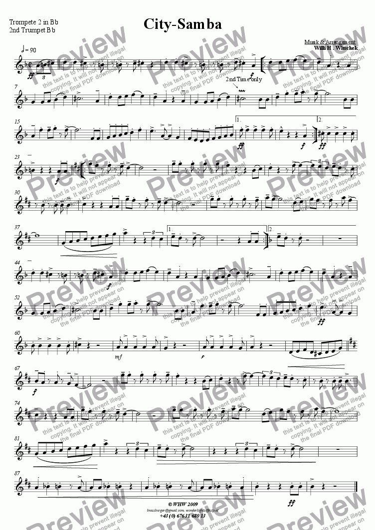 page one of the 2nd Trumpet in Bb part from City-Samba
