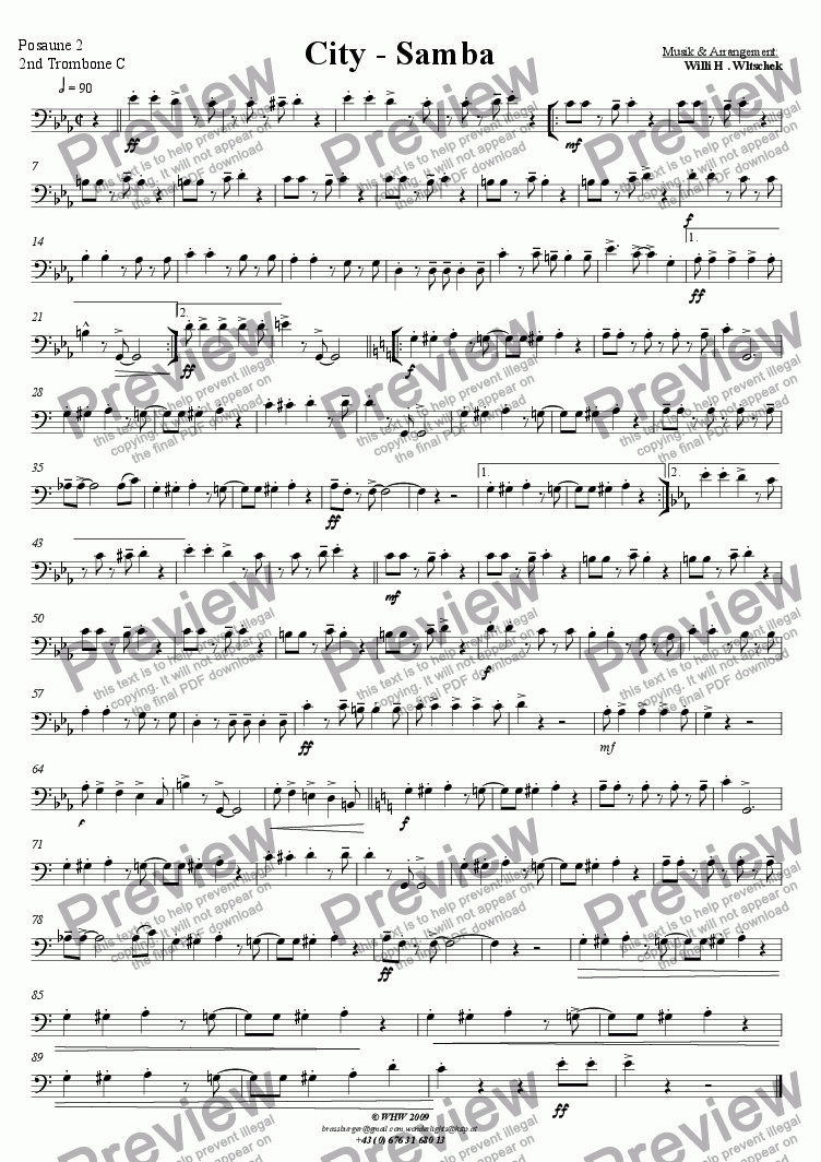 page one of the 2nd Trombone in C part from City-Samba
