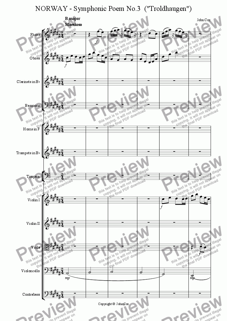 page one of the oboe part from NORWAY - Symphonic Poem No.3  (Troldhaugen)